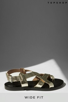 Topshop Wide Fit Paige Leather Sandals