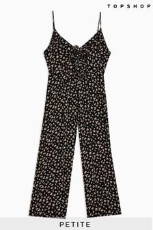 Topshop Petite Tie Front Floral Jumpsuit