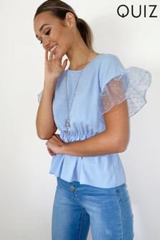 Quiz Frill Sleeve Peplum Necklace Top