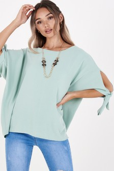 Quiz Tie Sleeve Necklace Top