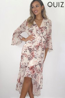 Quiz Floral Frill Midi Wrap Dress