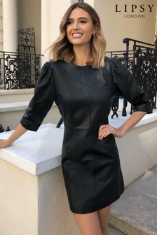 Lipsy Leather long sleeve dress