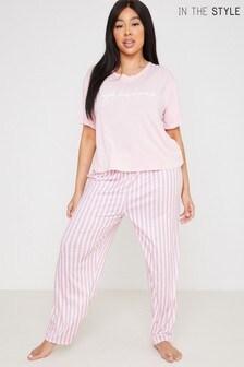 Curve Billie Faiers 'Fabulous' Slogan T-Shirt And Striped Trousers Pyjama Set