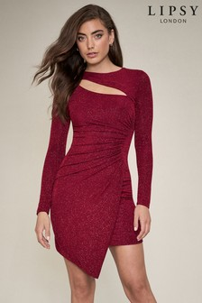 Lipsy Lurex Slash Neck Mini Dress