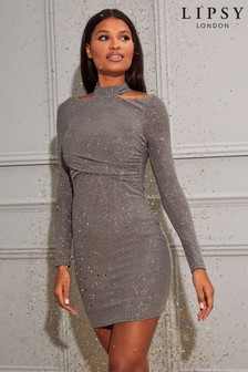 Lipsy Choker Detail Glitter Mini Dress