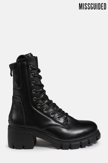 Missguided Lace Up Eyelet Ankle Boots