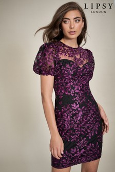 Lipsy Embroidered Puff Sleeve Dress