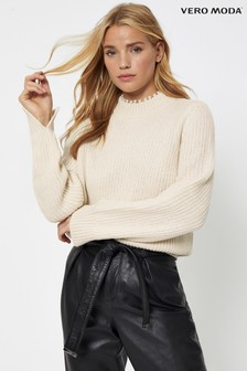 Vero Moda Pearl Neck Detail Knitted Jumper