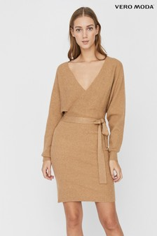 Vero Moda V neck Tie Front Knitted Dress