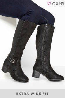 Yours Arco Block Stretch Buckle High Leg  Boot