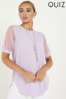 Quiz Polka Dot Puff Sleeve Necklace Top