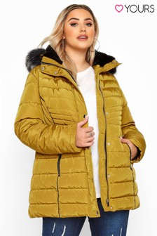 Yours Curve Midi Padded Coat