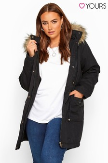 Yours Curve Faux Fur Trim Parka Jacket