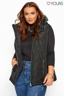 Yours Curve Trim Faux Fur Hood Gilet