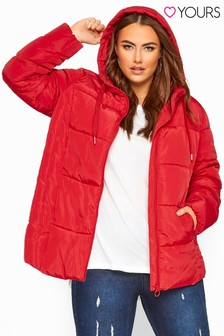 Yours Curve Short Hooded Padded Jacket