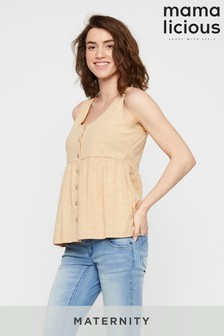 Mamalicious Maternity Jersey Button Through Top