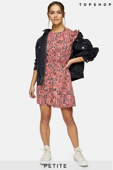 Topshop Petite Animal Print Puff Sleeve Mini Dress