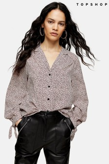 Topshop Micro Animal Print Tie Sleeve Blouse