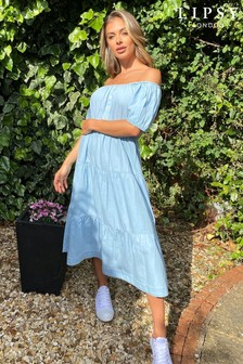 Lipsy Denim Bardot Midi Dress