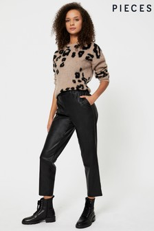 Pieces Faux Leather Trousers