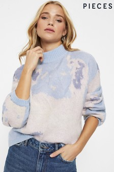 Pieces Abstract Print Knitted Jumper