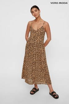 Vero Moda Animal Print Cami Pleated Midi Dress
