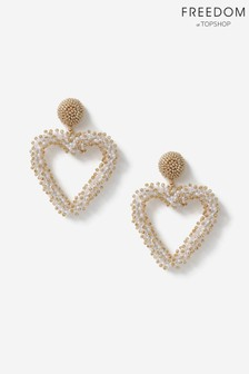 Topshop Freedom Beaded Heart Drop Earrings