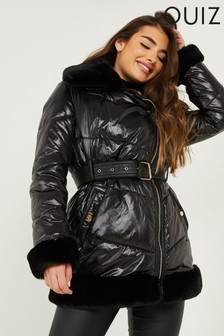 Quiz Padded Belted Faux Fur Trim Jacket