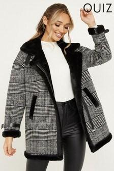 Quiz Checked Faux Fur Trim Jacket