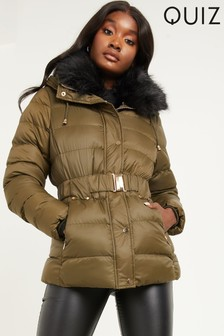 Quiz Faux Fur Collar Padded Jacket