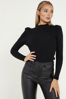 Quiz High Neck Puff Sleeve Top
