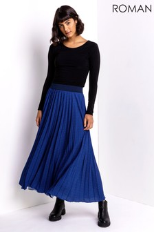 Roman Ditsy Spot Pleated Maxi Skirt