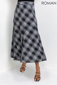 Roman Check Print Flared Midi Skirt