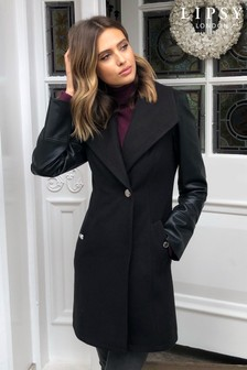 Lipsy Faux Leather Sleeve Coat