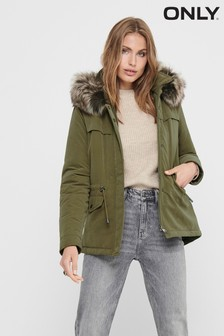 Only Parka With Faux Fur Trim Hood