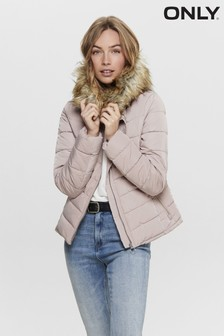 Only Padded Jacket With Faux Fur Hood