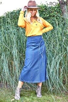 Roman A-Line Stretch Midi Skirt