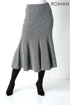 Roman Texture Flared Skirt