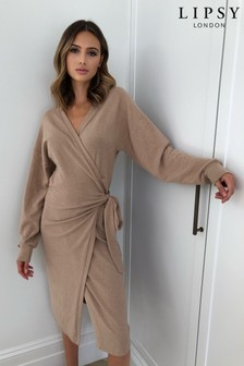 Lipsy Cosy Wrap Midi Dress