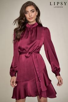 Lipsy High Neck Tie Waist Mini Dress