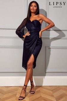 Lipsy Lurex One Shoulder Dress