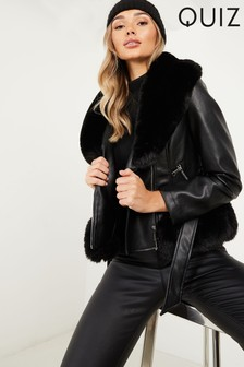 Quiz Biker Jacket With Faux Fur