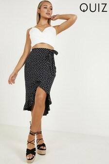 Quiz Polka Dot Wrap Skirt