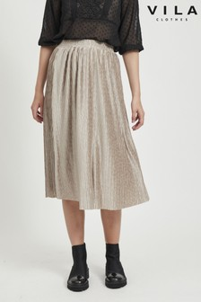 Vila Pleated Midi Skirt