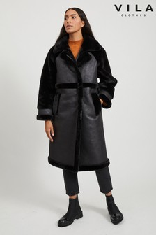 Vila Faux Shearling Detail Coat