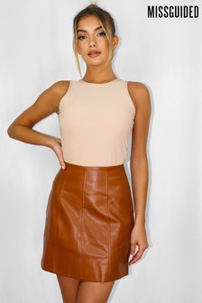 Missguided Faux Leather Panel Detail Mini Skirt