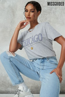Missguided Chicago Basketball Graphic Short Sleeve Tee