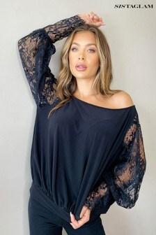 Sistaglam Off Shoulder Lace Sleeve Blouse