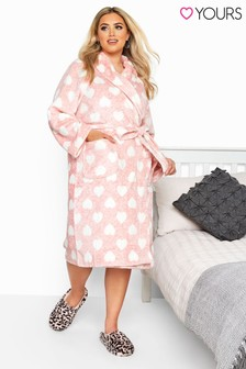 Yours Curve Printed Marl Heart Robe