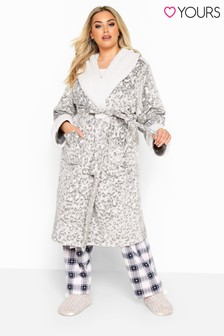 Yours Curve Clipped And Printed Animal Robe
